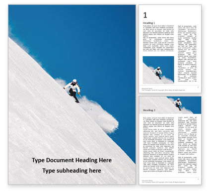 Sports: Skier Skiing Downhill During Sunny Day in High Mountains Word Template #16419