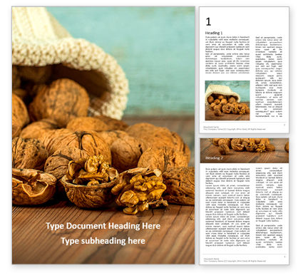 Food & Beverage: Walnuts scattered from burlap bag on wooden table Kostenlose Word Vorlage #16420