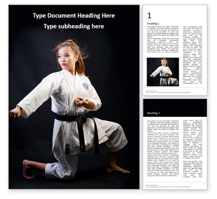 Sports: A martial arts woman in white kimono with black belt Kostenlose Word Vorlage #16421