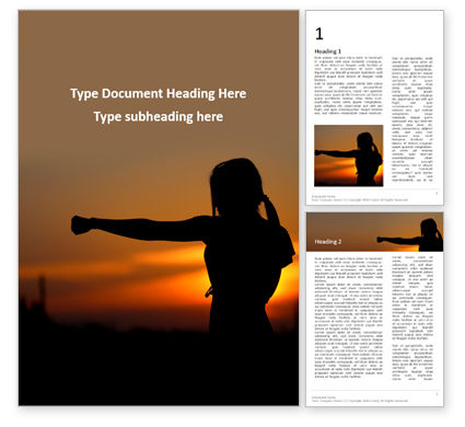 Sports: Young Woman Training Karate on Sunset Word Template #16422