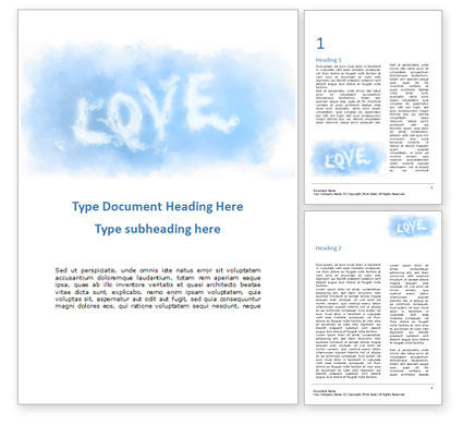 Holiday/Special Occasion: Love Shaped Clouds Word Template #16427