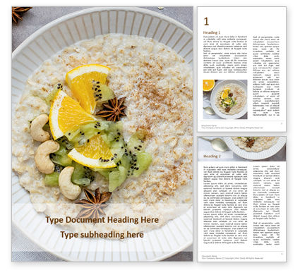 Food & Beverage: oatmeal with orange and cashews - 無料Wordテンプレート #16433