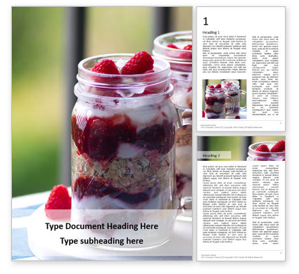 Food & Beverage: Overnight oats with raspberries in jars Kostenlose Word Vorlage #16434