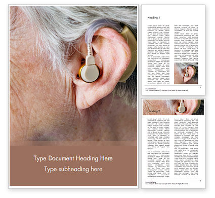 Medical: Elderly Person with Hearing Aids Word Template #16436