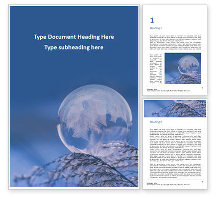 Nature & Environment: A Frozen Soap Bubble on a Branch Word Template #16438