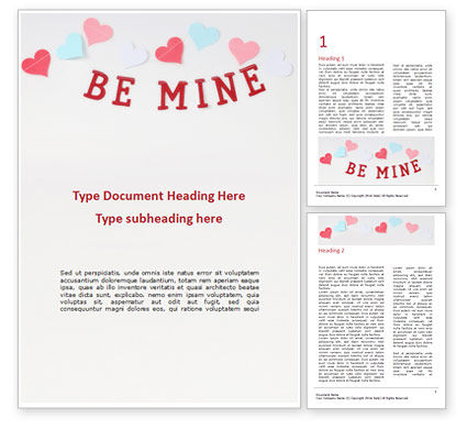 Holiday/Special Occasion: be mine valentines card - 無料Wordテンプレート #16440