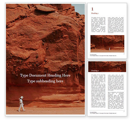 Nature & Environment: Red Martian Landscape Gratis Word Template #16441