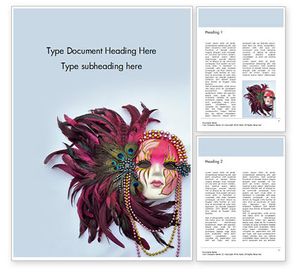 Holiday/Special Occasion: Mardi Gras Masquerade Mask Word Template #16442
