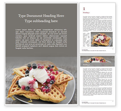 Food & Beverage: Cooked Waffles and Ice Cream Word Template #16443