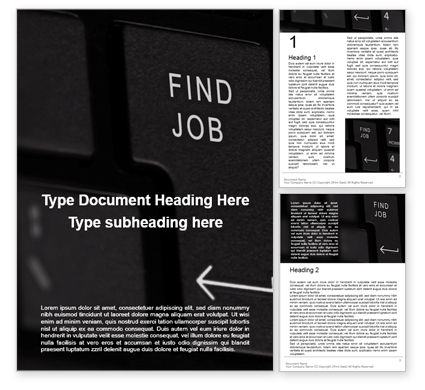 Careers/Industry: Find Job Button on black Keyboard Word Template #16452