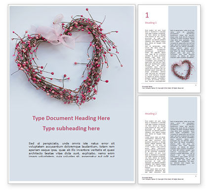 Holiday/Special Occasion: Heart Shaped Wreath Word Template #16456