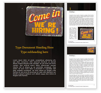 Careers/Industry: Come in We're Hiring Sign Word Template #16460