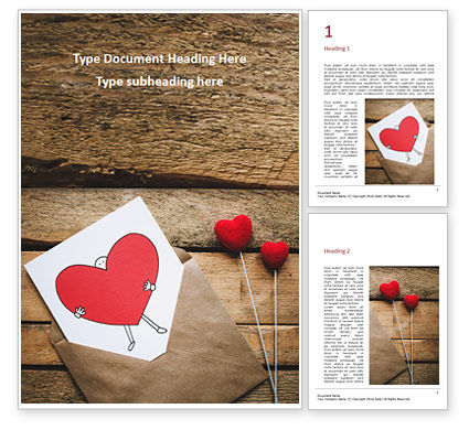 Holiday/Special Occasion: Love Letter Envelope with Red Heart on Wooden Table Word Template #16463