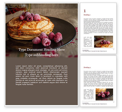 Food & Beverage: Pancakes raspberry presentation免费Word模板 #16485