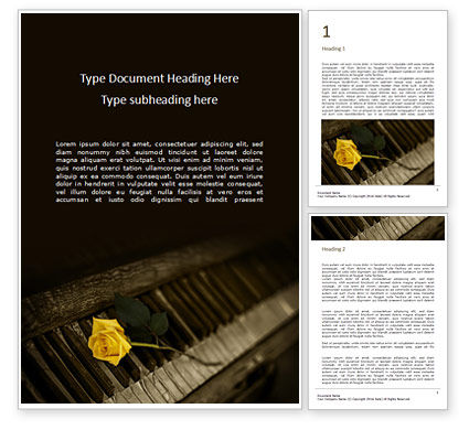 Art & Entertainment: Yellow rose on piano keys presentation免费Word模板 #16490