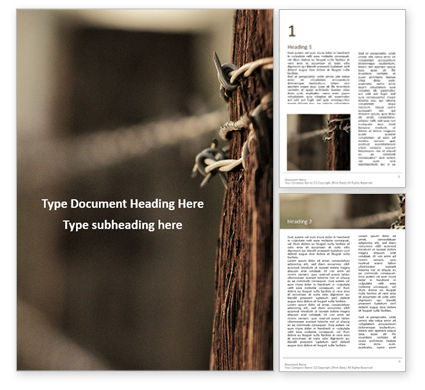 Agriculture and Animals: Modelo do Word - barbed wire fence presentation #16502