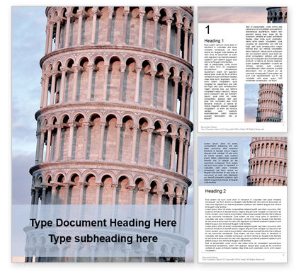 Construction: Leaning tower of pisa presentationWord模板 #16506