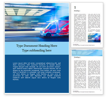 Medical: Ambulance Running With Lights And Sirens On A Street Presentation Gratis Word Template #16507