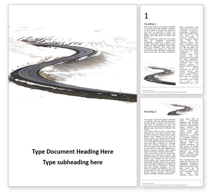 Construction: Winding Winter Road Presentation Word Template #16513