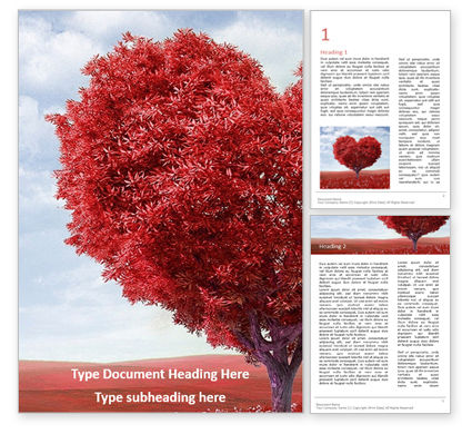 Holiday/Special Occasion: A red heart shaped tree presentationWord模板 #16519