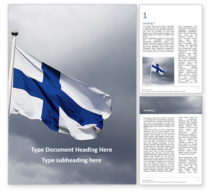 Flags/International: Flag Of Finland Presentation Gratis Word Template #16522