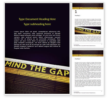 "Cars/Transportation: ""mind the gap"" inscription presentation免费Word模板 #16538"