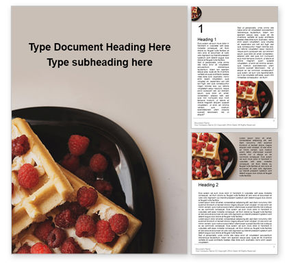 Food & Beverage: Waffles with Raspberries Presentation #16545