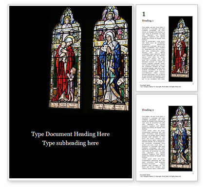 Religious/Spiritual: 무료 워드 템플릿 - stained glass window presentation #16549
