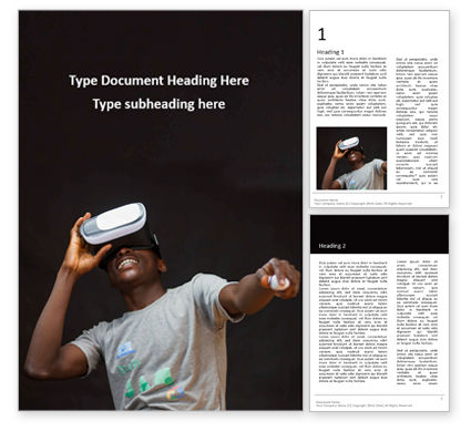 Technology, Science & Computers: Man Wearing Grey Shirt Using Virtual Reality Headset Presentation Gratis Word Template #16562