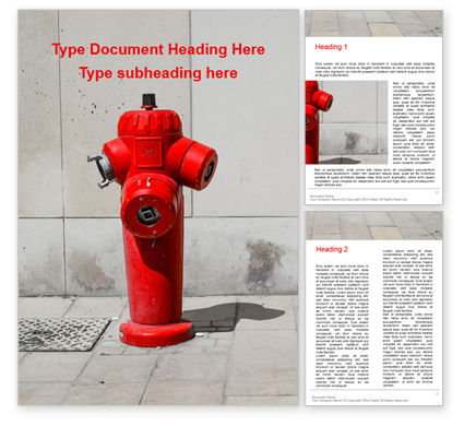 Careers/Industry: a deep red fire hydrant in front of a wall presentation - 無料Wordテンプレート #16564