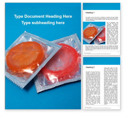 Medical: Two condom packs on a blue background presentation免费Word模板 #16565