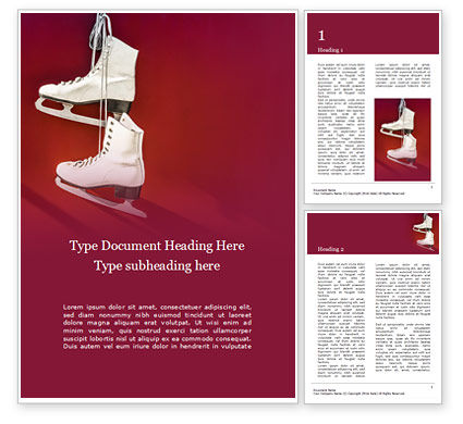 Sports: Hanged pair of white leather figure skates on red wall presentation Word Vorlage #16568