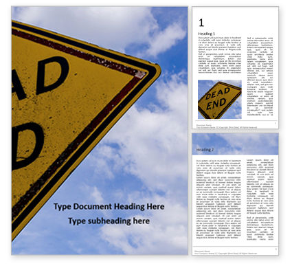 Cars/Transportation: Templat Word Gratis Dead End Sign Against Blue Cloudy Sky Presentation #16572