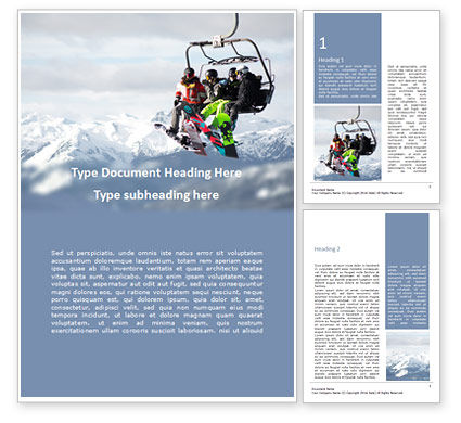 Sports: Modèle Word gratuit de skiing friends on chairlift presentation #16579