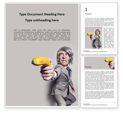 Food & Beverage: Modèle Word gratuit de man in a suit holding banana like a gun presentation #16580