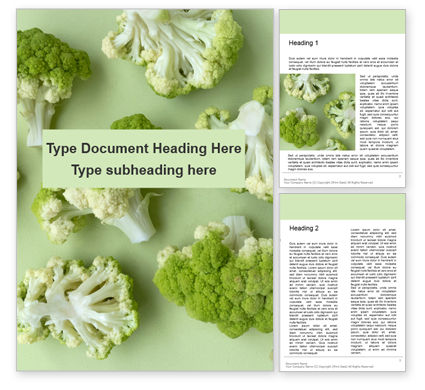 Food & Beverage: Plantilla de Word gratis - broccoli on green background presentation #16581