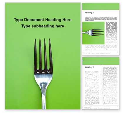 Food & Beverage: Plantilla de Word gratis - silver fork on green background presentation #16584