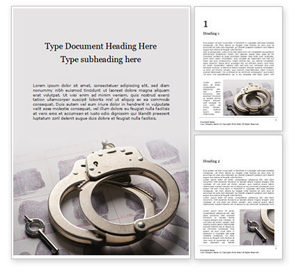 Legal: Modelo de Word Grátis - sliver handcuffs lying on top of fingerprint sheets presentation #16591