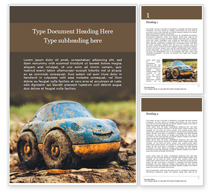 Cars/Transportation: Modelo de Word Grátis - toy car in mud presentation #16594