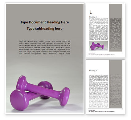 Sports: Two Pink Fitness Dumbbells Presentation Gratis Word Template #16596