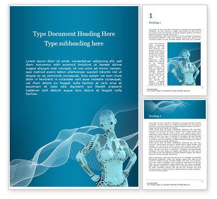Technology, Science & Computers: 3d Rendering Of A Female Robot Presentation Gratis Word Template #16598
