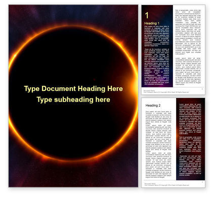 Technology, Science & Computers: The Moon Covers The Sun In A Beautiful Solar Eclipse Presentation Gratis Word Template #16601