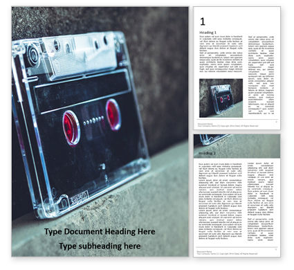 Technology, Science & Computers: Cassette Tape Presentation Gratis Word Template #16621