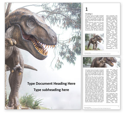 Education & Training: The Hunting Grounds Of A Tyrannosaurus Rex  Presentation Gratis Word Template #16631
