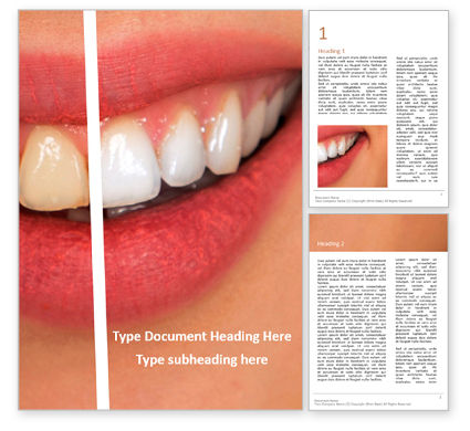 Medical: Woman teeth before and after whitening presentation免费Word模板 #16635