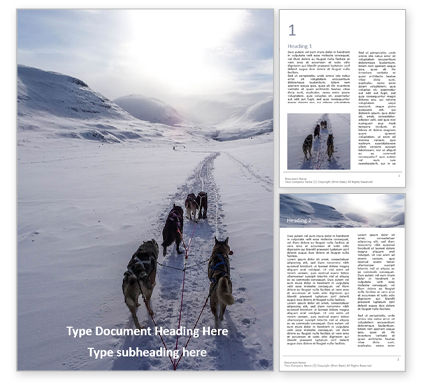 Nature & Environment: Modèle Word gratuit de dog sledding presentation #16636