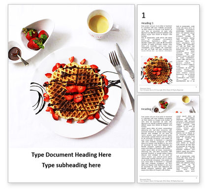 Food & Beverage: Belgium Waffles with Chocolate Sauce and Strawberries Presentation #16640