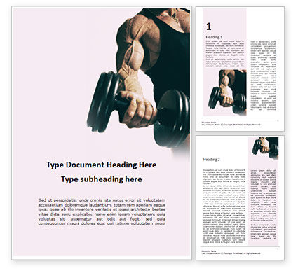 Sports: Modello Word Gratis - Hand holding black dumbbell presentation #16642