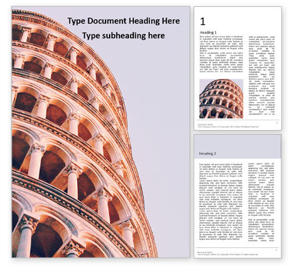 Flags/International: The Leaning Tower Presentation Gratis Word Template #16645