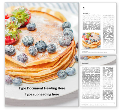 Food & Beverage: Homemade pancakes with berries presentation免费Word模板 #16646
